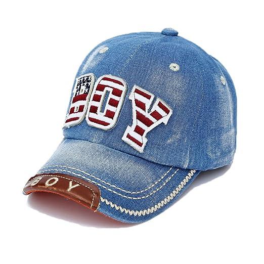 336b998cf Denim Blue Baseball Cap Boys Girls Kids Letters Embroidery Hip Hop Sun Hats