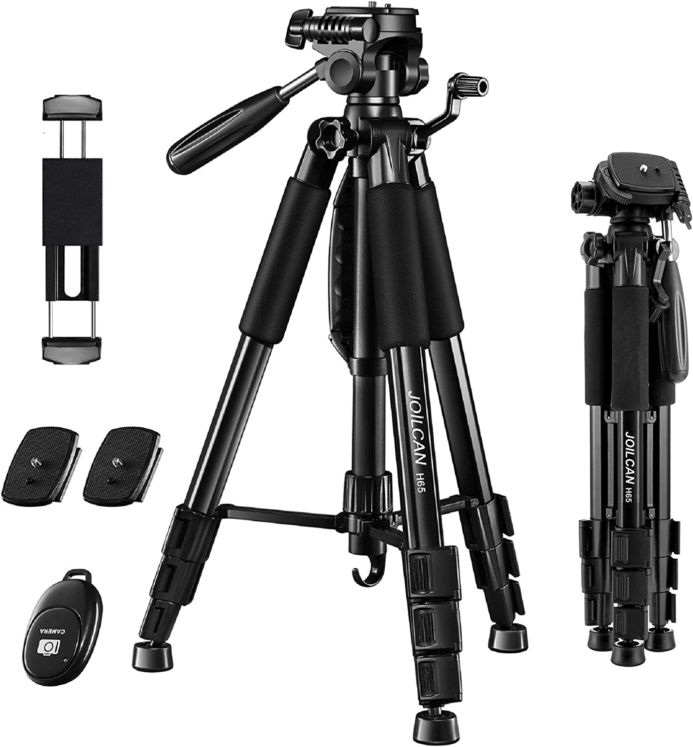 "JOILCAN 65""Camera Tripod for Canon Nikon Lightweight Aluminum Travel DSLR Camera Stand 11 lbs Load with Universal Phone/Tablet Mount, 2PC Quick Plates(Black) : Camera & Photo"