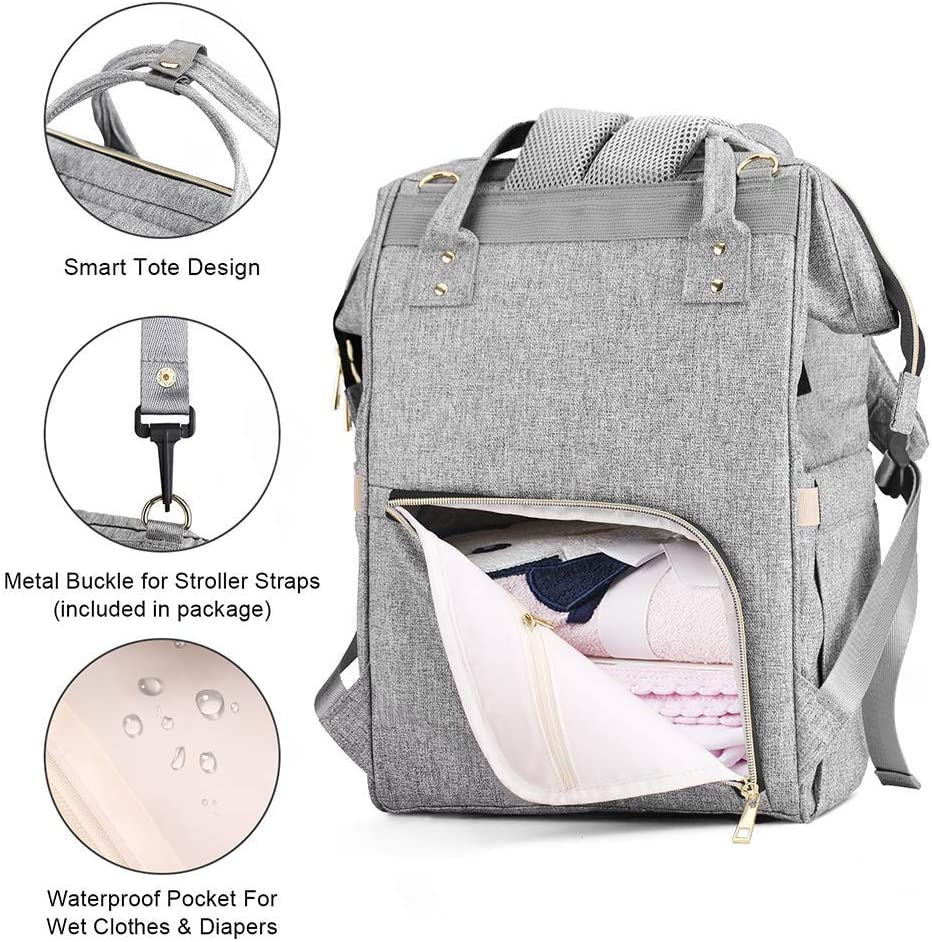 Nappy Bag Backpack with USB Charging Port Baby Changing Bag Backpack Blue Diaper Bag Backpack with Insulated Pockets Stroller Straps