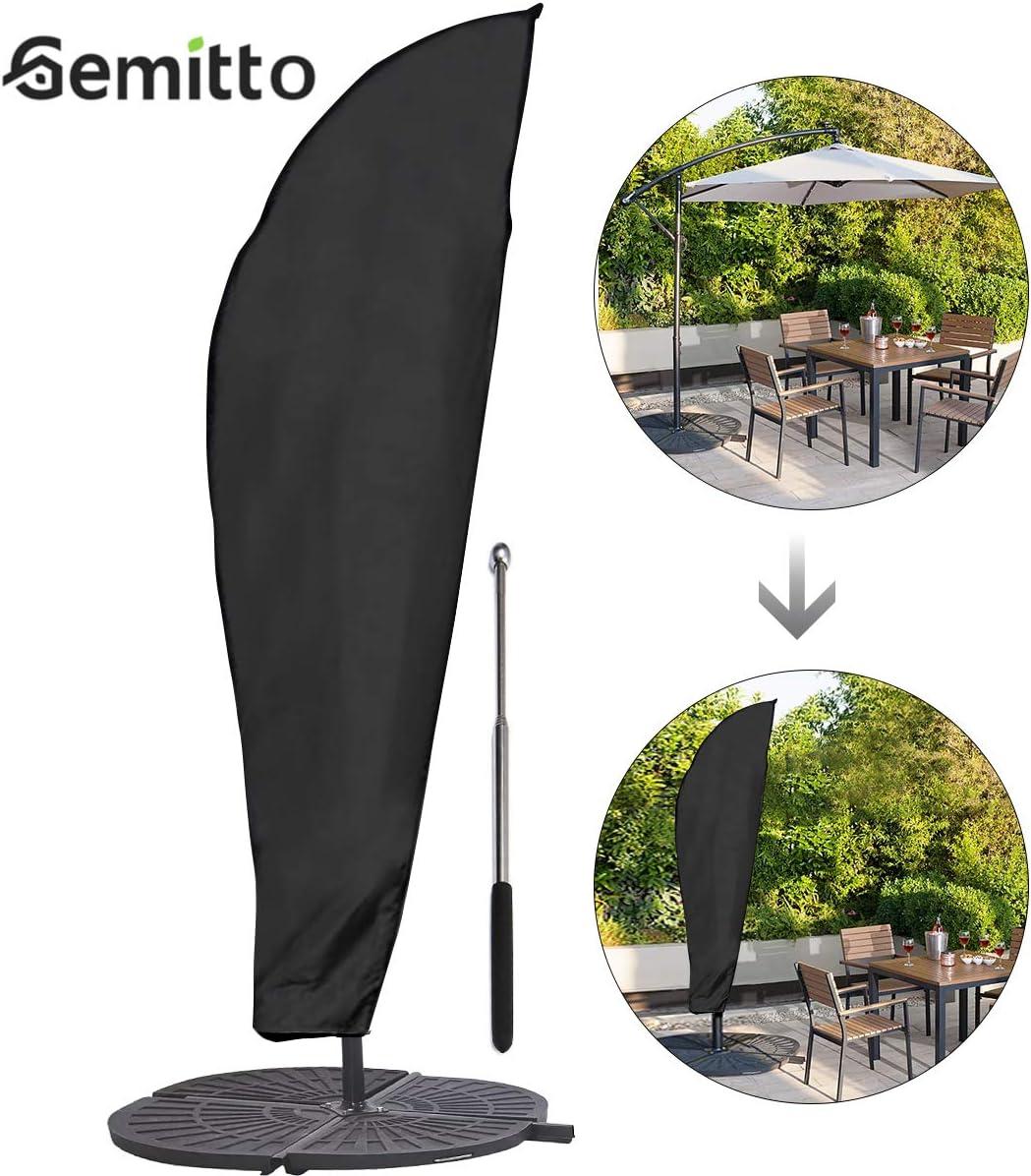 GEMITTO Funda Protectora de Sombrilla, Impermeable Funda para Parasol con Cremallera, Oxford 210D Protectora para Parasol de Jardín Patio Terraza Intemperie 9-11ft