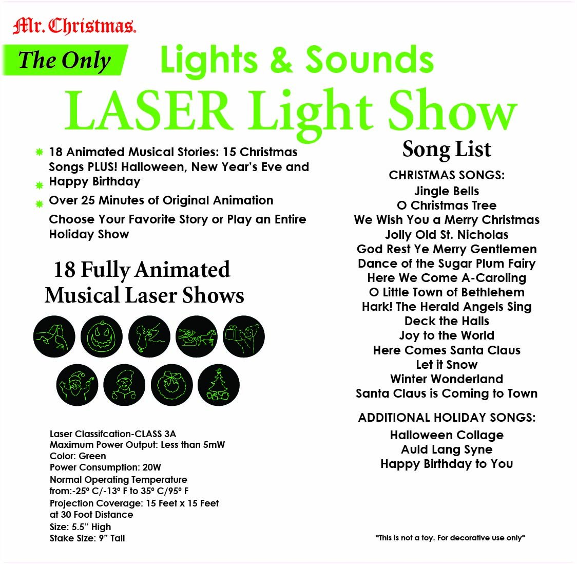 Mr. Christmas Laser Light and Sound Show - Fully Animated Holiday ...