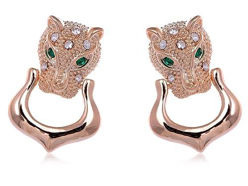 Amazon.com: Alilang para mujer tono dorado Jaguar gato ...
