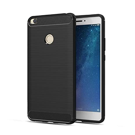separation shoes 866b3 39368 Plus Carbon Fiber Brushed Texture Shockproof Back Case Cover For Xiaomi Mi  Max 2 - Black