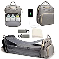 Diaper Bag Backpack Portable Mommy Bag Foldable Crib Large Capacity Multifunctional Mother and Baby Diaper Bag Baby Portable Backpack Bed Baby Diaper Changing Station Travel Backpack USB Port (Gray)
