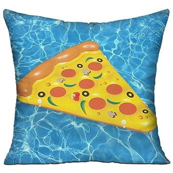 GRUNVGT Funda de cojín de Pizza Verano Inflable Piscina Flotador Decorativo Funda de almohada Sofá Asiento Coche Almohada Suave 18x18 pulgadas: Amazon.es: ...