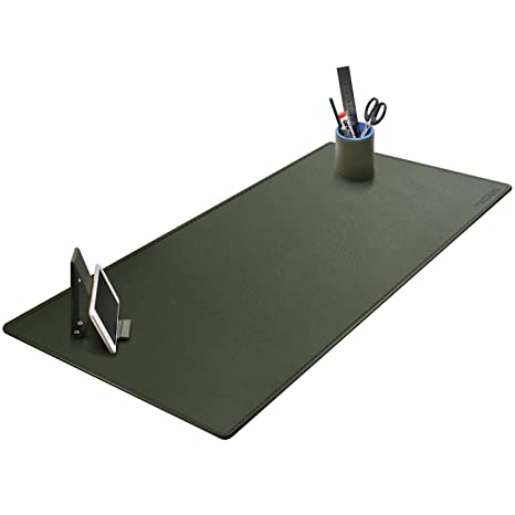 Marvelous Green Color Leather Desk Pad Maidern Office Desk Protector 39 4 X 15 7 Artificial Leather Large Keyboard Mat Mouse Pad With Pen Holder And Cell Home Interior And Landscaping Ymoonbapapsignezvosmurscom