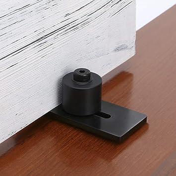 Color: Black New-8 in 1 Install Setup Heavy Duty Sturdy Sliding Barn Door Floor Guide Adjustable Roller Flush Bottom Design Floor and Door Fi