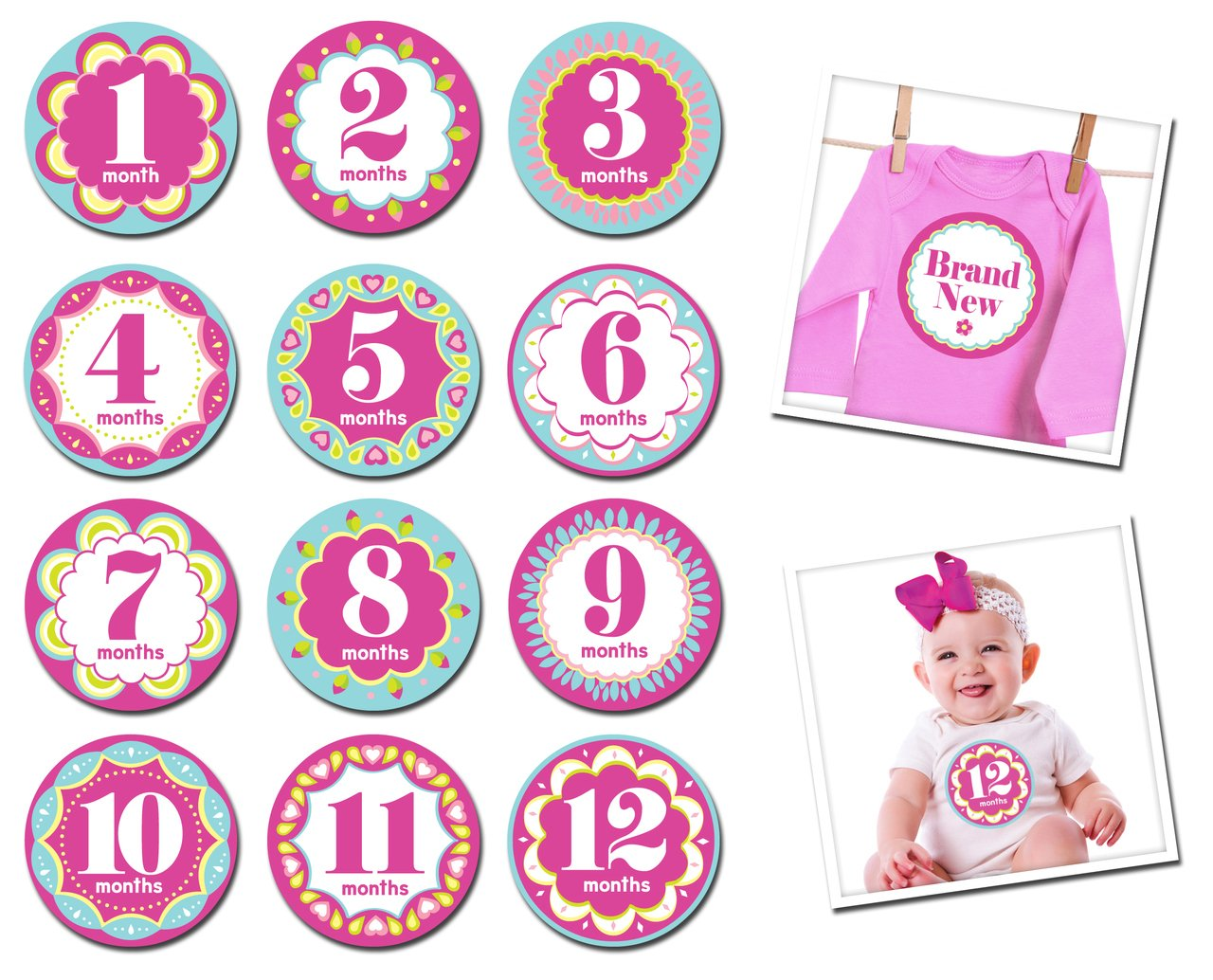 Sticky Bellies Baby Month Stickers- Modern Miss 348