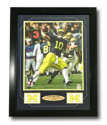 99462683436 Image Unavailable. Image not available for. Color  TOM BRADY SIGNED MICHIGAN  WOLVERINES 16X20 PHOTO FRAMED COA TRISTAR PATRIOTS