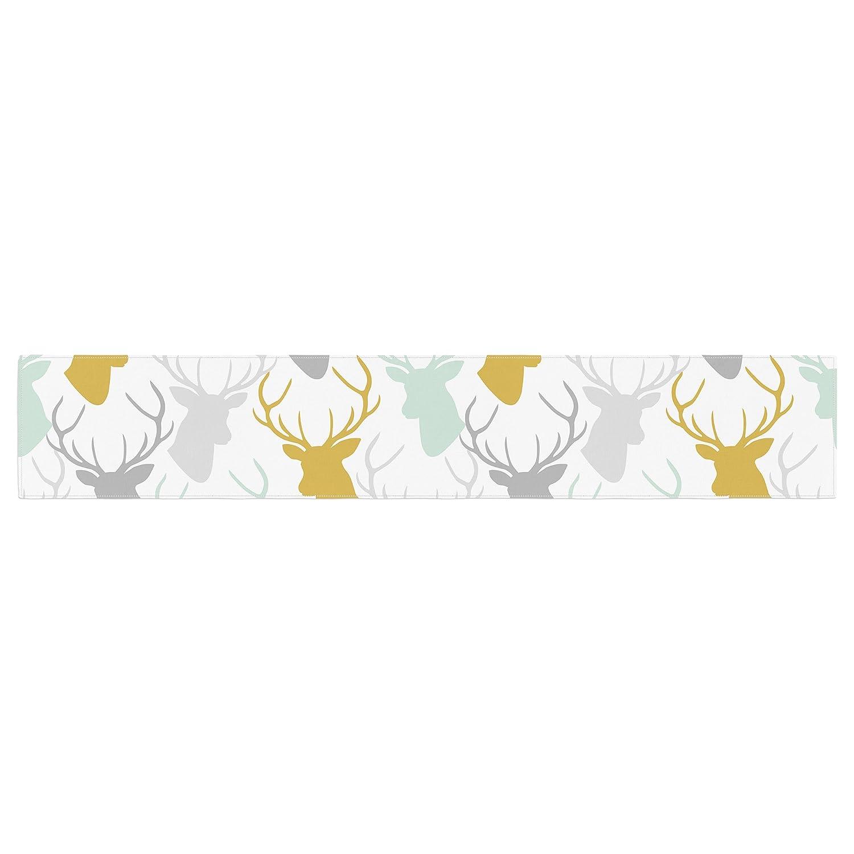 Kess InHouse Pellerina Design Scattered Deer White Gold Green Table Runner
