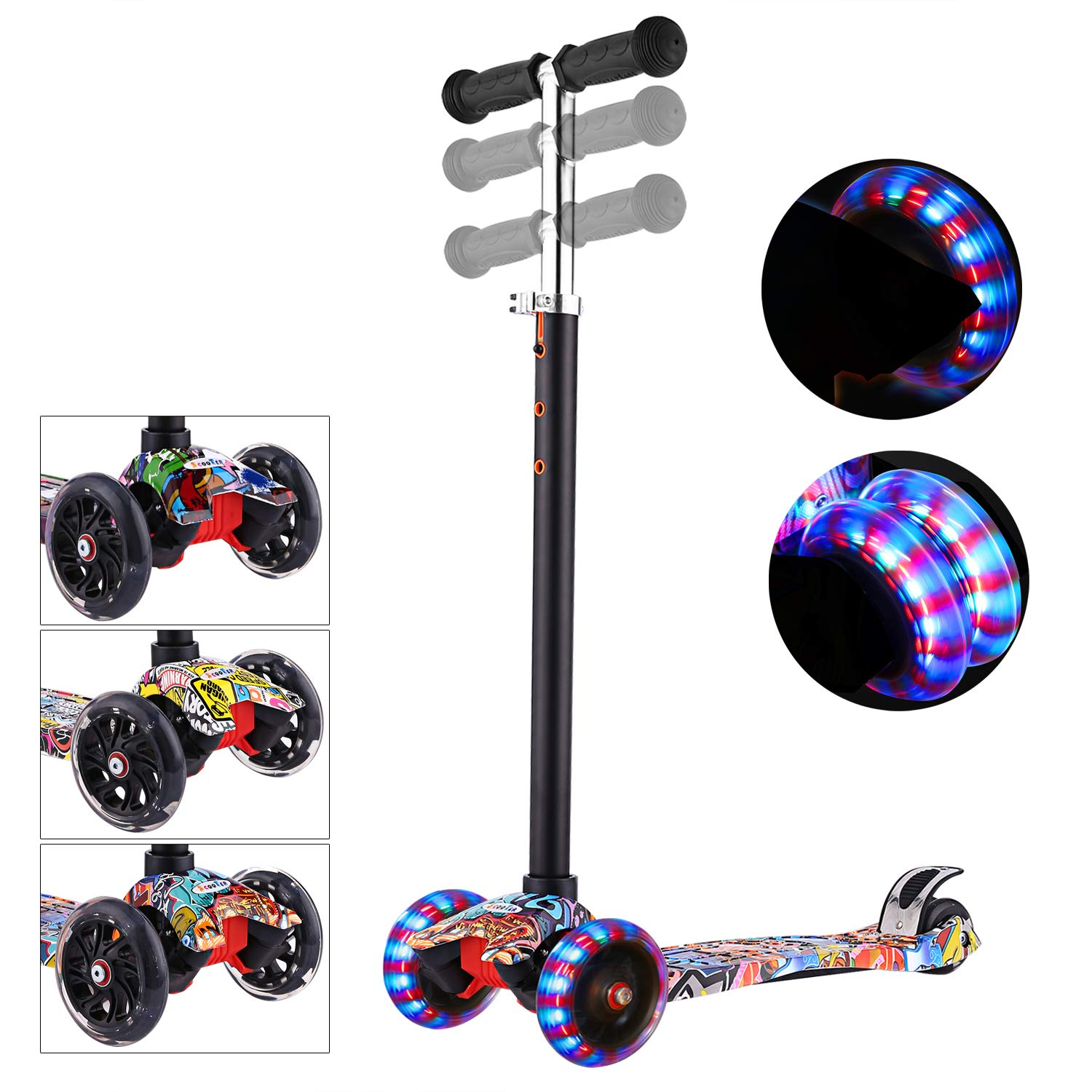 WeSkate Kids Scooter Adjustable Height Mini Children Kick Scooter with 3 Light Up Flashing Wheel for Boys Girls,Quick Disassembly with One Button,Support 110LBS (Red Hip-hop Graffiti) by WeSkate