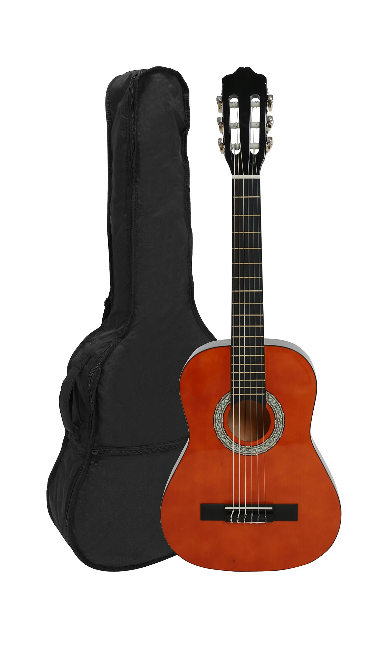 NAVARRA NV15 Classical Guitar 1/2 honey with black binding incl. Gig Bag with rucksack-straps and music sheet/accessories pocket, 2 Picks