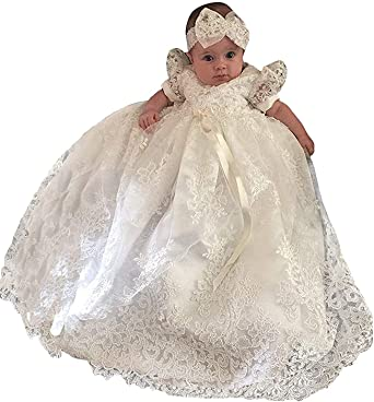 Christening Gown Baby Girl Lace Toddler Dedication Dress for Age 3-24 months