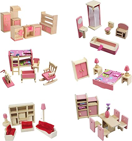 Amazon Com Kisoy Wooden Dollhouse Furniture Set For Kid And Children 6 Pcs Including Kitchen Bathroom Bedroom High And Low Bed Living Room Dining Room Toys Games