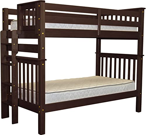 Bedz King Tall Bunk Beds Twin over Twin Mission Style with End Ladder, Cappuccino