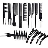 JZK Set de 10 peines profesional y 4 clips para el pelo - peine de salón antiestático peluquería peines para estilista…