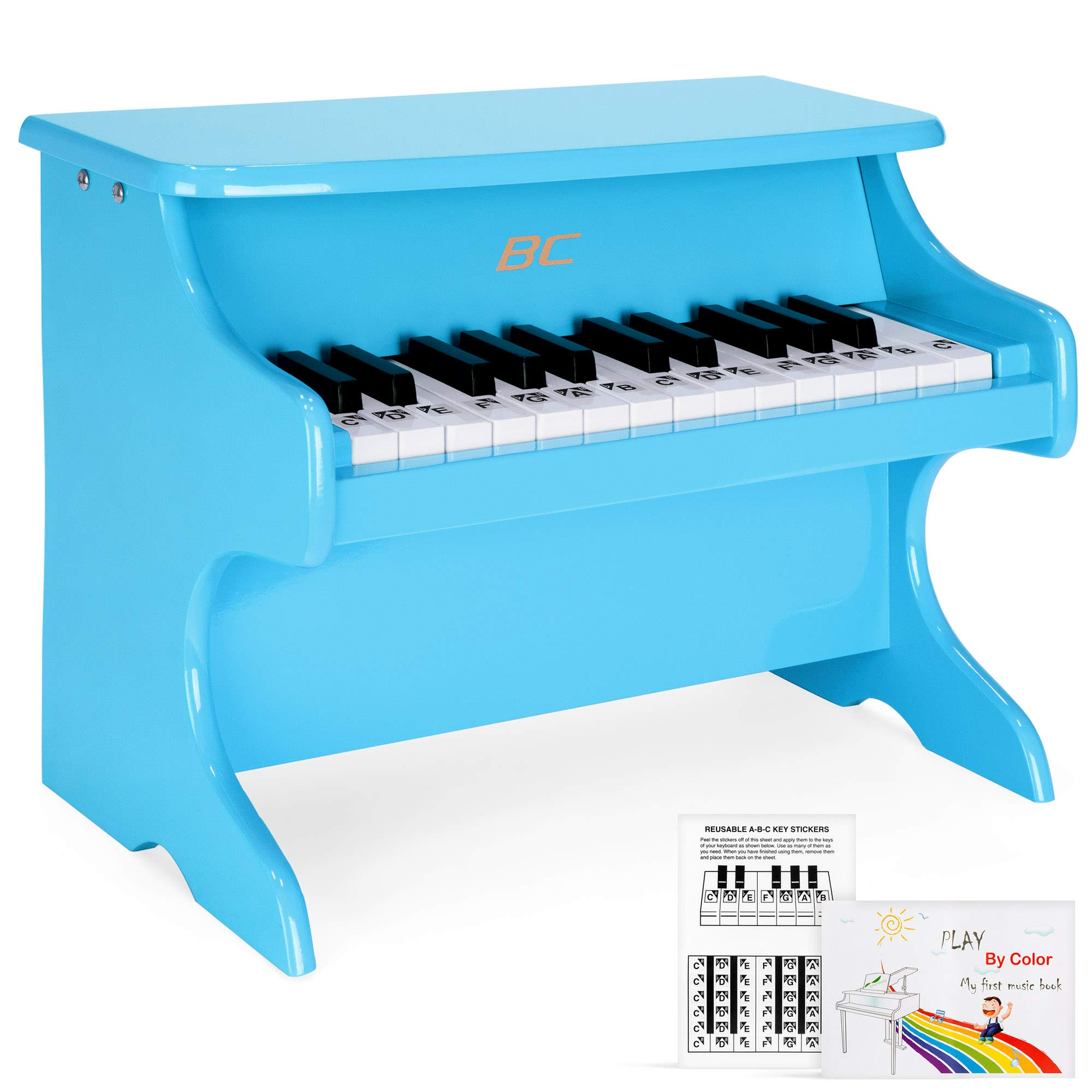 Best Choice Products Toddler Learn-to-Play Mini Piano w/ Key Note Stickers, Music Book, Blue by Best Choice Products