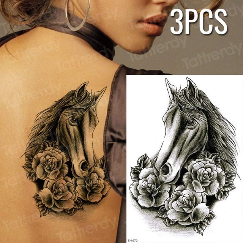 Handaxian 3pcs Tatuaje Chino dragón Negro Dibujo Tatuaje patrón ...