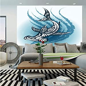 Shark Huge Photo Wall Mural,Hammerhead Fish with Ornamental Ethnic Effects Swimming Ocean Image,Self-Adhesive Large Wallpaper for Home Decor 108x152 inches,Dark and Petrol Blue White