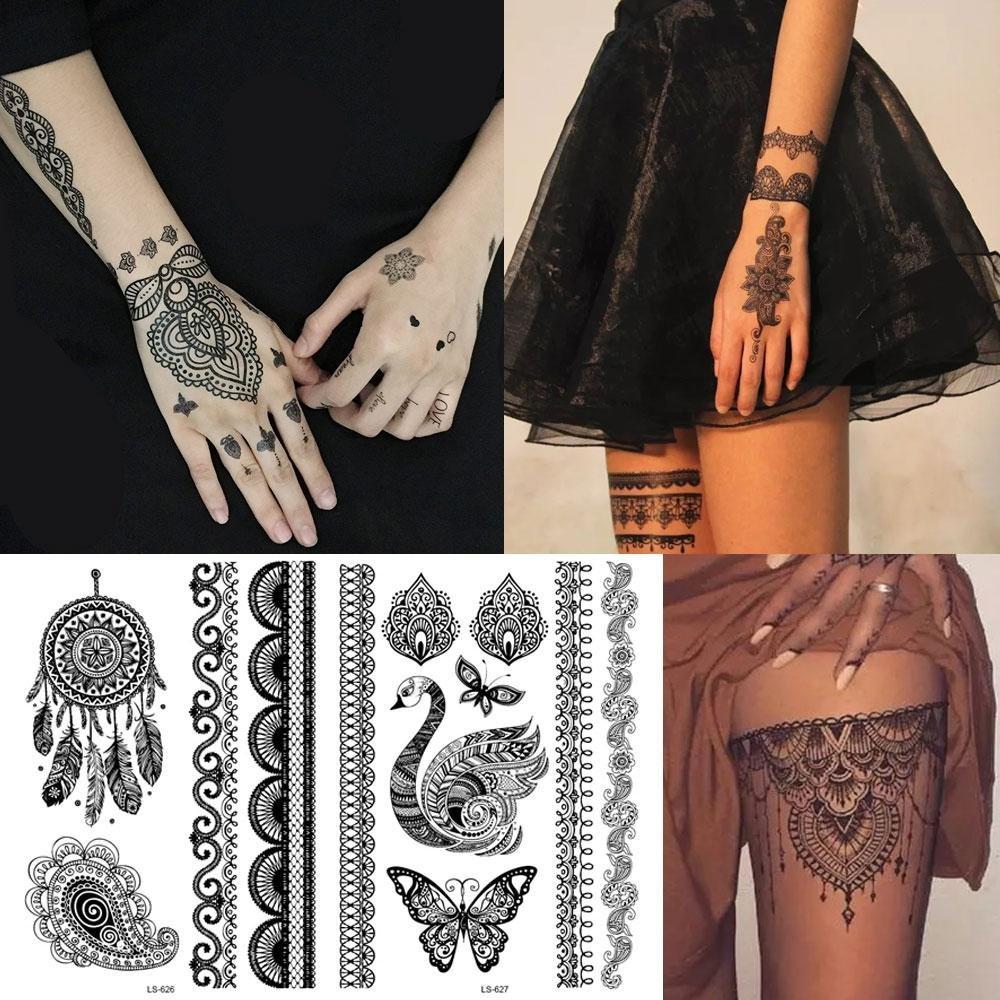 Leegoal - Tatuajes temporales, 20 hojas, tatuaje adhesivo metálico ...