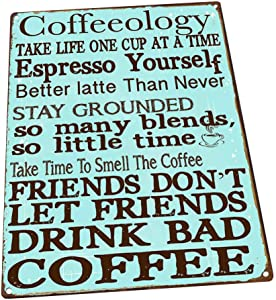HBA Coffeeology Turquoise Metal Sign, Coffee Lovers, Kitchen Decor, Cafe Decor