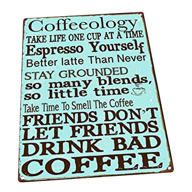 Coffeeology Turquoise Metal Sign, Coffee Lovers, Kitchen Decor, Cafe Decor