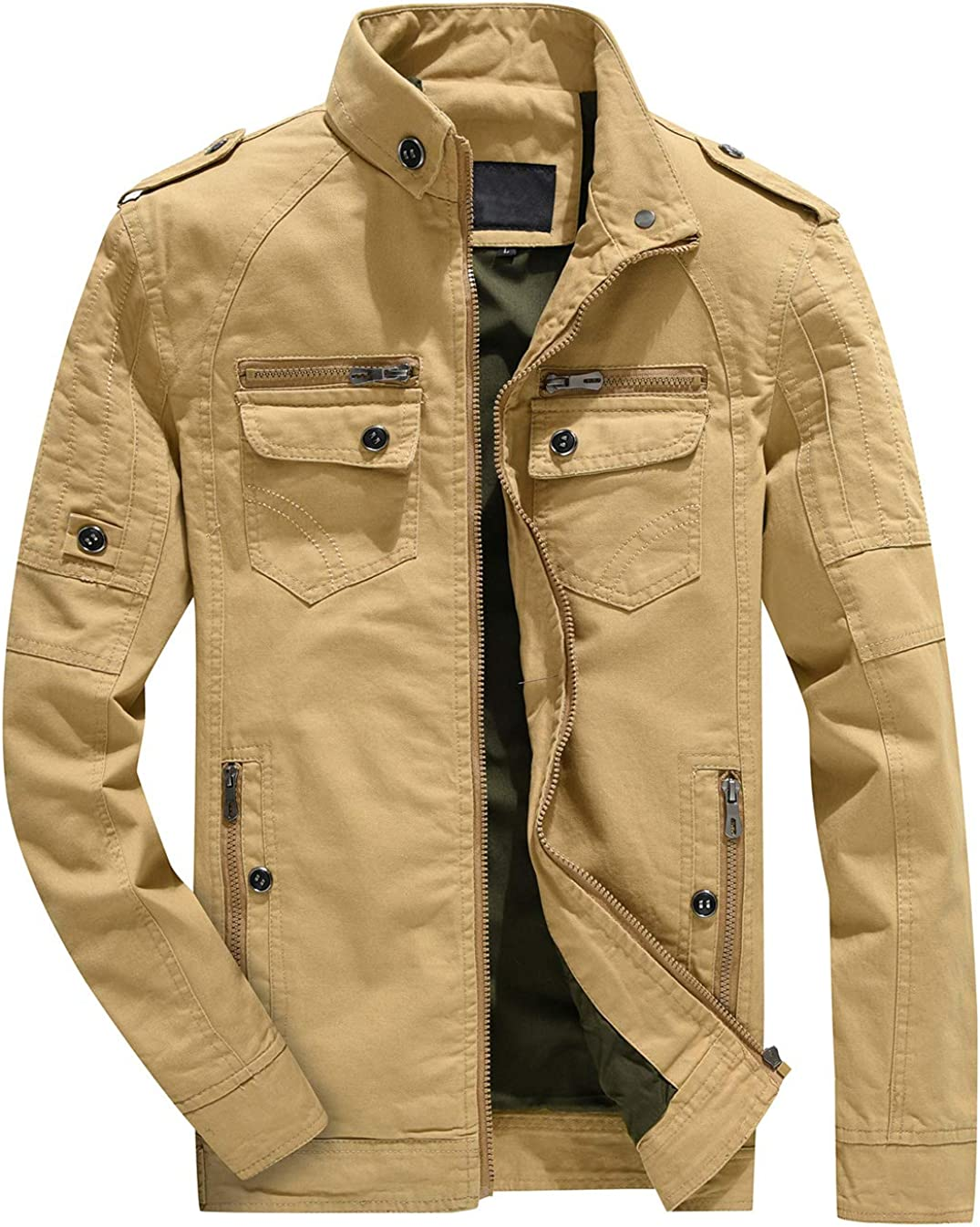 chouyatou Mens Military Stylish Zip-Up Regular Lightweight Windbreaker Casual Bomber Jacket