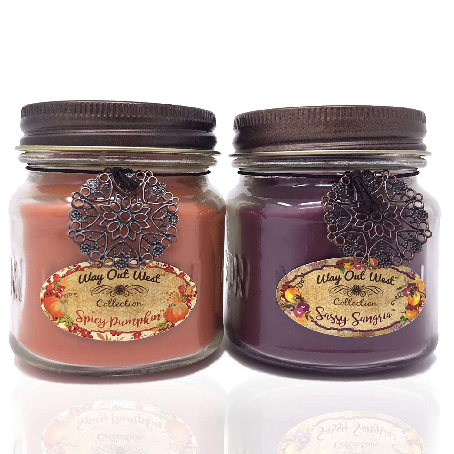 Way Out West Spicy Pumpkin & Sangria Jar Candle Gift Pack Set 2 Jar Candles- Fragrant, Long Lasting Soy Wax Blend Scented Candles - Delightful Cranberry Orange & Best Pumpkin Like Grandma's Kitchen! Ocotillo Southwest X16-SPU-SS