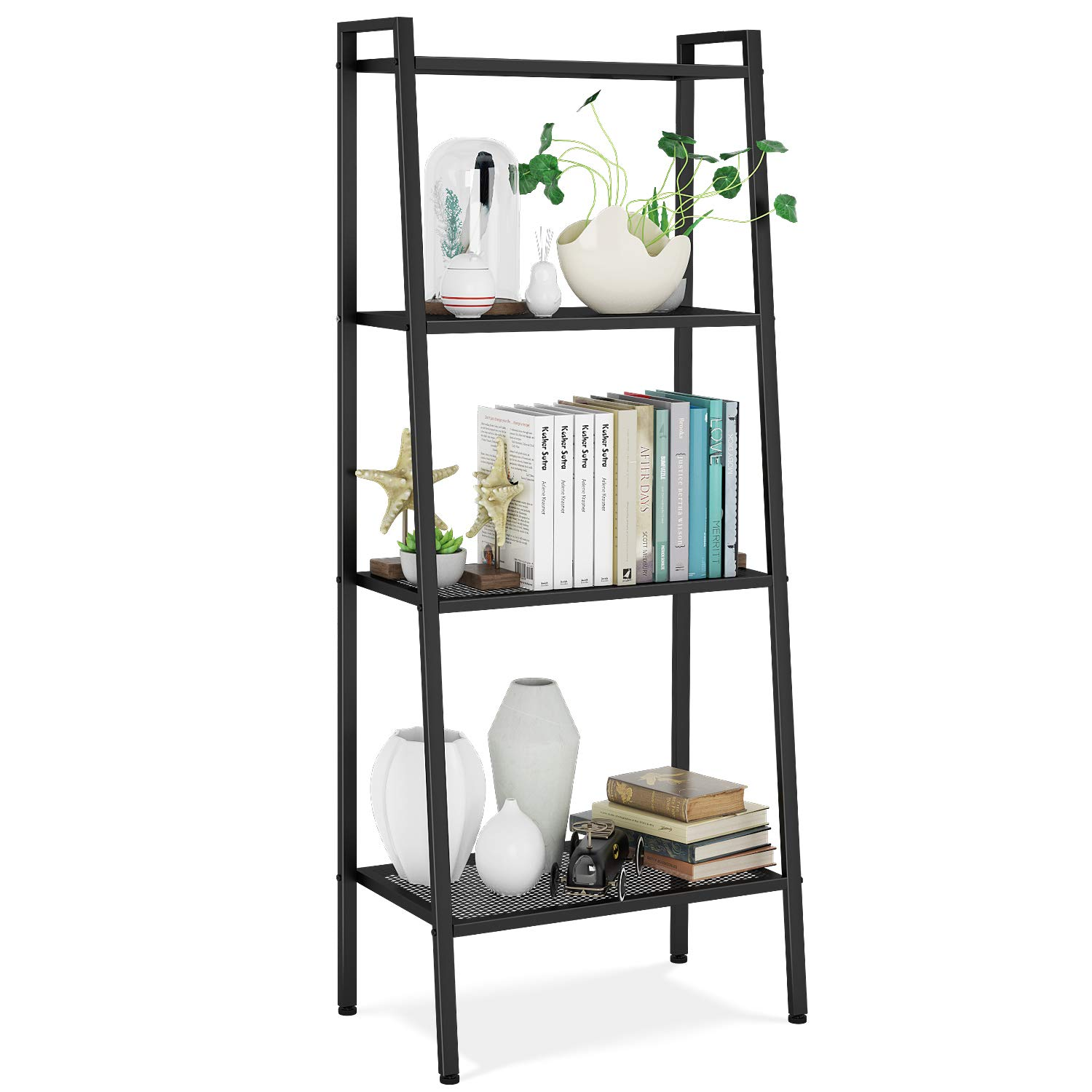HOMFA Metal 4 Shelf Bookcase, Multifunctional Ladder-Shaped Plant Flower Stand Rack Bookrack Storage Shelves, Black