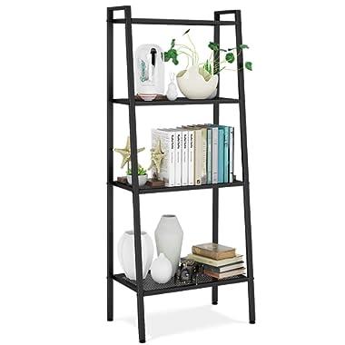 HOMFA Metal 4 Shelf Bookcase, Multifunctional Ladder-Shaped Plant Flower Stand Rack Bookrack Storage Shelves, Black