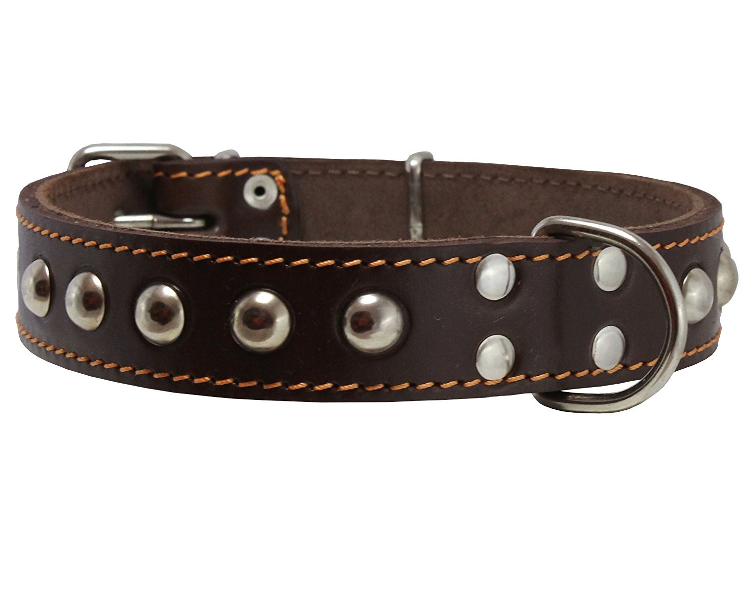 Genuine 1  Wide Thick Leather Studded Dog Collar. Fits 14 -17  Neck, Medium Breeds.