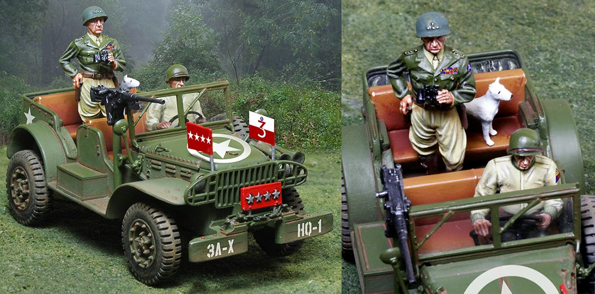WWII US Army Dodge Jeep, General George Patton, dog Willy, and Driver 1/32 Scale 2 Piece Set Painted Metal Museum Quality Toy Soldiers W Britain King Country Compatible by Collectors Showcase