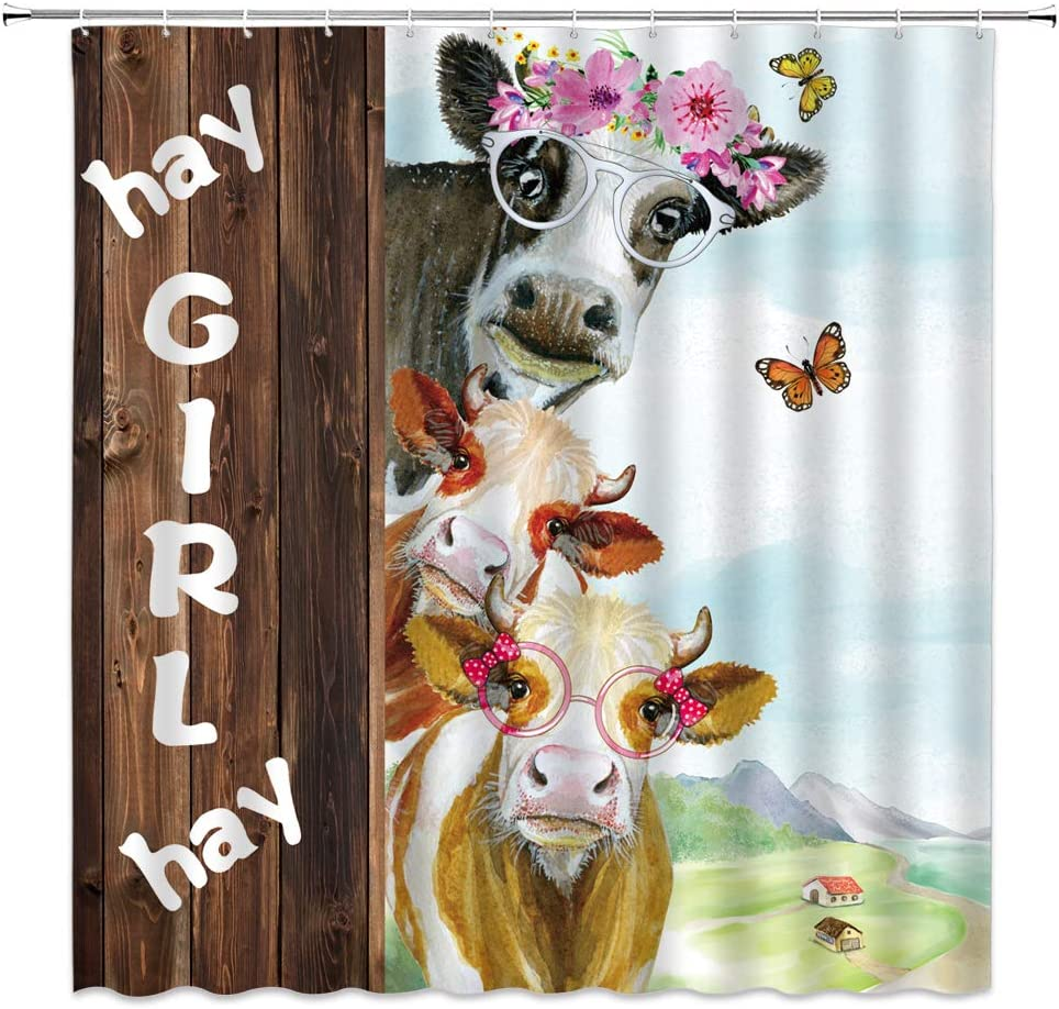Farmhouse Animal Cows Painted Wood Plank Waterproof Fabric Shower Curtain Set
