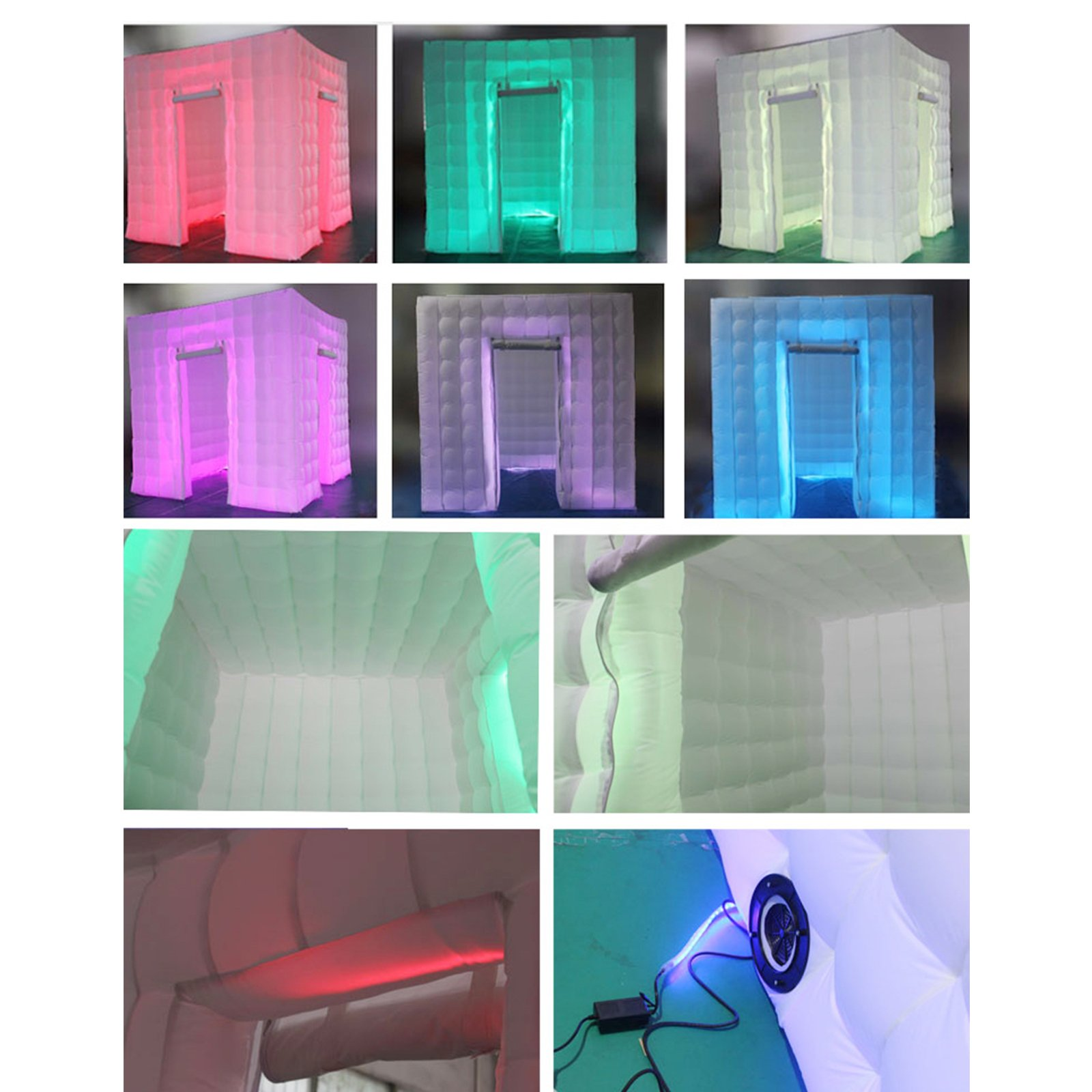 Happybuy 8.2X 8.2ft Inflatable Portable LED Lights Photo Booth 2 Doors W/Fan 110V US Plug by Happybuy (Image #4)