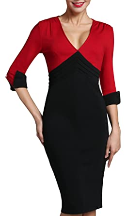b48bd7bccee4 HOMEYEE Women's Wear to Work Patchwork Business Party Casual Pencil Dress  B357 (4, Red