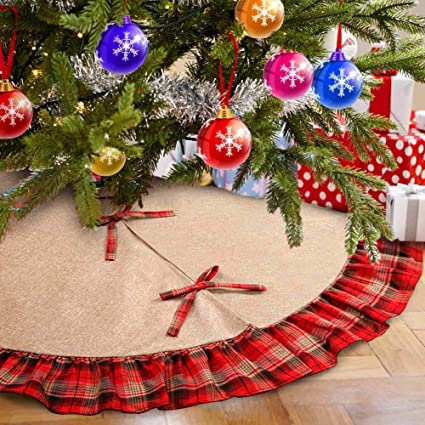 amazon com aytai 48inch plaid christmas tree skirts red and black