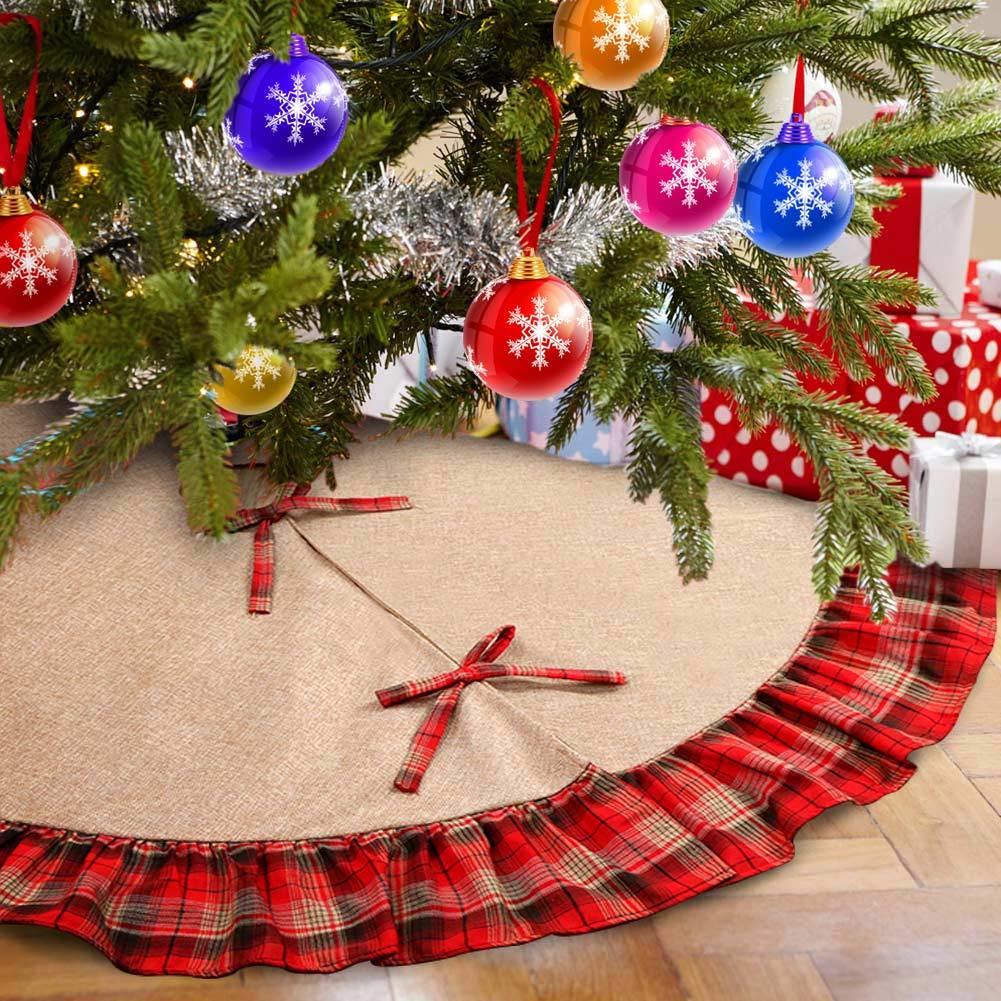 Aytai 48inch Plaid Christmas Tree Skirts Red and Black Edge, Burlap Tree Skirt for Holiday Christmas Decorations