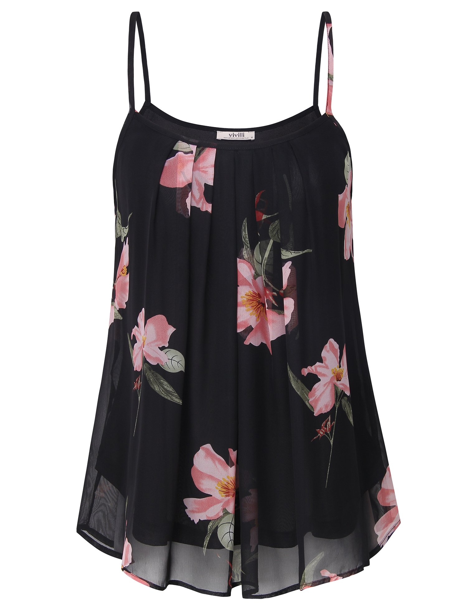 Vivilli Women's Summer Floral Cool Casual Sleeveless Pleated Chiffon Layered Cami Tank Top, A-line Camisole Tank Top Medium Black.