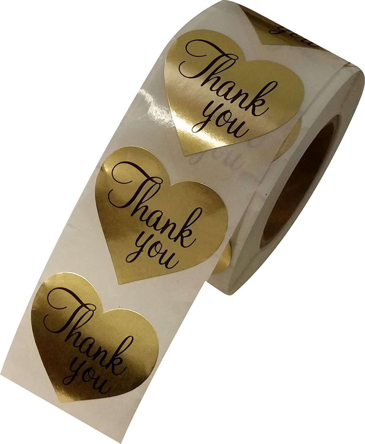Thank You Heart Love Shape Kraft Gold Paper Adhesive Label