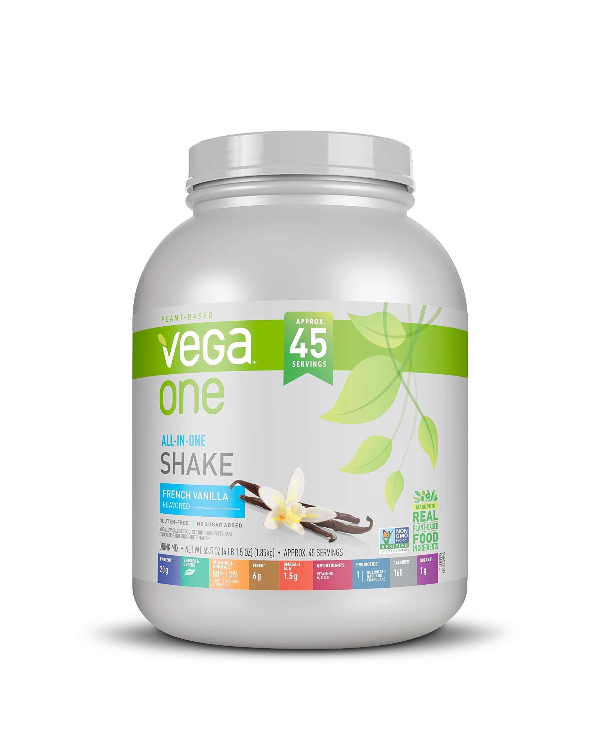 Vega All-In-One Nutritional Shake French Vanilla, XL, (45 Servings, 65.5 Ounce) - Plant Based Vegan Protein Powder, Non Dairy, Gluten Free, Non GMO