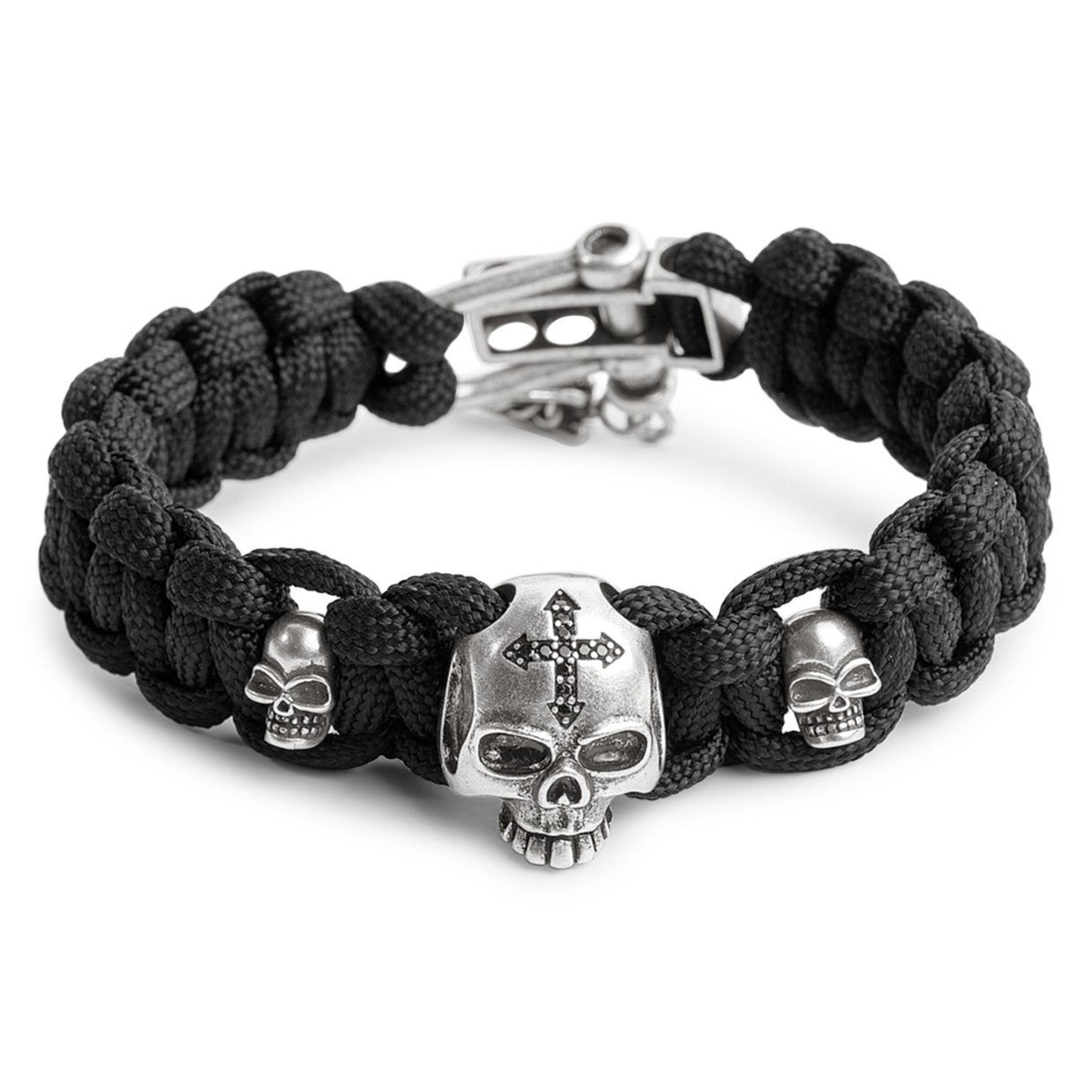 Kayder Antique Silver Skull Cross Charm Paracord Bracelet with Black Parachute Cord Weave & Adjustable D Shackle Closure, Cool Gothic Jewelry Gift for Men and Boys