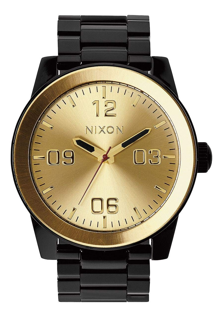 NIXON Corporal SS A348 - Black/Gold - 102M Water Resistant Men's Analog Field Watch (48mm Watch Face, 24mm Stainless Steel Band) by NIXON