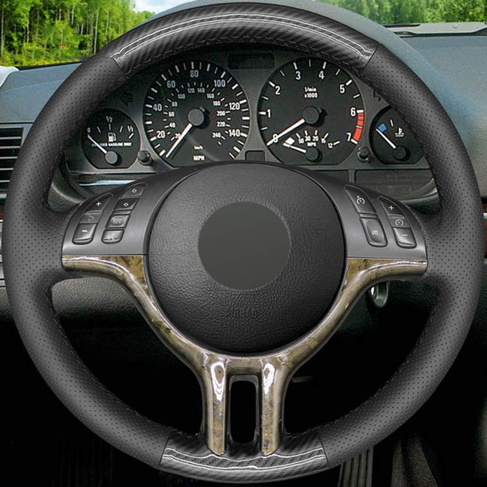JIANGJUNCHE Para Negro DIY Cosido a Mano Cubierta del Volante del Coche para BMW E39 E46 325i E53 X5