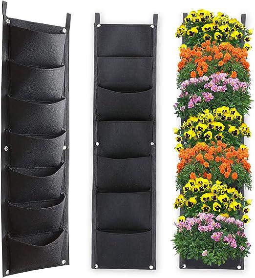 Xben - Macetas verticales para colgar en la pared, 7 bolsillos interiores y exteriores, bolsas grandes de cultivo para balcón, jardín, oficina, decoración del hogar: Amazon.es: Jardín