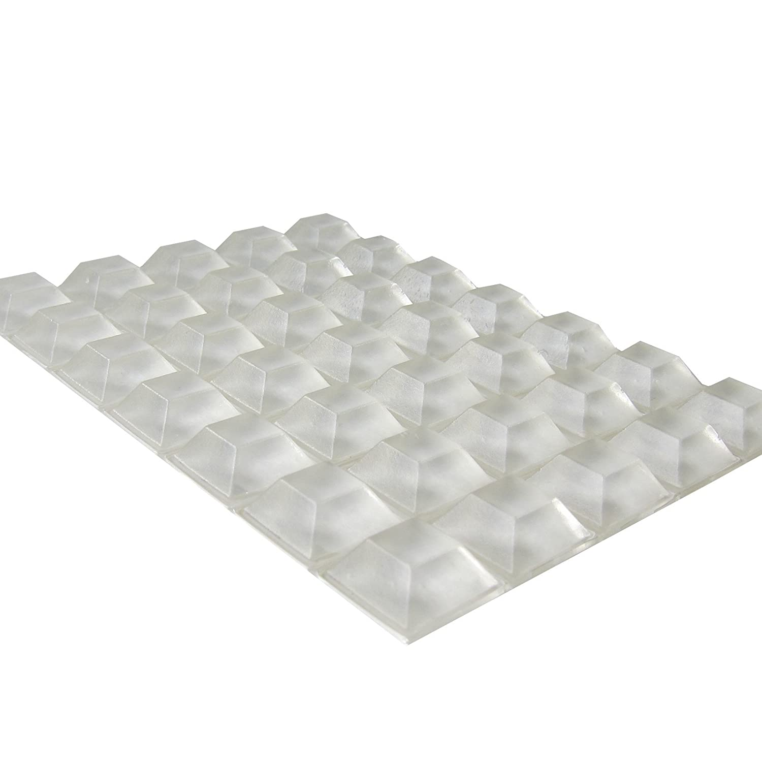 Clear Rubber Feet Adhesive Rubber Bumper - 35 Pack - Nonslip Transparent Cutting Board Feet - Tall Square Self Stick Bumpers for Electronics - Clear Bumper Pads