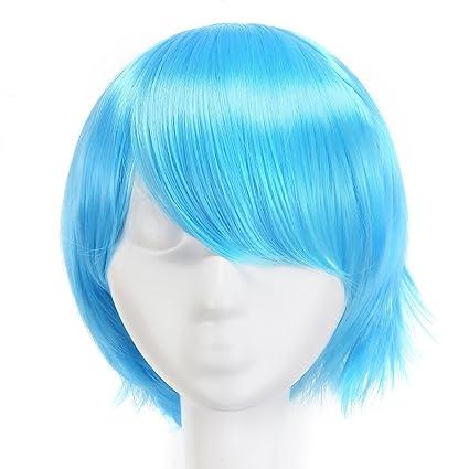 MapofBeauty 30cm/12 pulgada medio lacio hombre lacio Pelucas (Ligero azul)