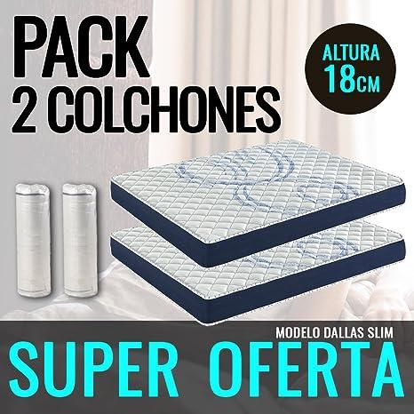 DormiPremium Pack 2 COLCHONES VISCOELASTICO Dallas Slim Especial 80X190Altura 18 cm, (3cm visco)