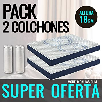 DormiPremium Pack 2 COLCHONES VISCOELASTICO Dallas Slim Especial 90X190 Altura 18 cm, (3cm visco): Amazon.es: Hogar