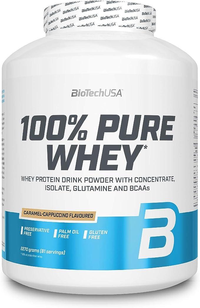 BioTechUSA 100% Pure Whey Complejo de proteína de suero, con aminoácidos añadidos y edulcorantes, sin conservantes, 2.27 kg, Caramelo-Capuchino