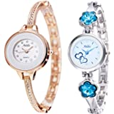 Addic Combo of 2 Amazing Analogue White Dial Women's Watches